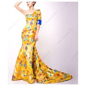Dragon Brocade Mermaid Gown One Sleeve Train Asian